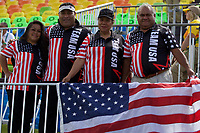 August 11, 2016; Rio de Janeiro, Brazil; USA supporters before the game between USA Men's Eagles Sevens and Spain during the Men's Rugby Sevens 9th Place Final match on Day 4 of the Rio 2016 Olympic Games at Deodoro Stadium. Photo credit: Abel Barrientes - KLC fotos