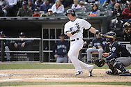 CHICAGO - APRIL 06:  Gordon Beckham #15 of the Chicago White Sox bats against the Seattle Mariners on April 06, 2013 at U.S. Cellular Field in Chicago, Illinois.  The White Sox defeated the Mariners 4-3.  (Photo by Ron Vesely)   Subject:  Gordon Beckham