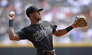 CHICAGO - AUGUST 25:  Tim Anderson #7 of the Chicago White Sox throws the baseball against the Texas Rangers during Players Weekend on August  25, 2019 at Guaranteed Rate Field in Chicago, Illinois.  (Photo by Ron Vesely)  Subject:   Tim Anderson