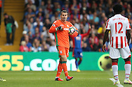 Goalkeeper Shay Given of Stoke City talking to Wilfried Bony of Stoke City. Premier League match, Crystal Palace v Stoke city at Selhurst Park in London on Sunday 18th Sept 2016. pic by John Patrick Fletcher, Andrew Orchard sports photography.