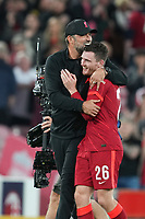 Football - 2021 / 2022 UEFA Champions League - Group B, Round One - Liverpool vs AC Milan - Anfield - Wednesday 15th September 2021<br /> <br /> <br /> Liverpool manager Jürgen Klopp hugs Liverpool's Andy Robertson<br /> <br /> <br /> <br /> Credit COLORSPORT/Terry Donnelly