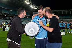 December 15, 2018 - Sydney, NSW, U.S. - SYDNEY, NSW - DECEMBER 15: Sydney FC defender Jacob Tratt (18) with Sydney FC fans at the end of the game at the Hyundai A-League Round 8 soccer match between Western Sydney Wanderers FC and Sydney FC at ANZ Stadium in NSW, Australia on December 15, 2018. (Photo by Speed Media/Icon Sportswire) (Credit Image: © Speed Media/Icon SMI via ZUMA Press)