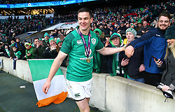 Ireland's Johnny Sexton celebrates winning the grand slam during the NatWest 6 Nations match at Twickenham Stadium, London. PRESS ASSOCIATION Photo. Picture date: Saturday March 17, 2018. See PA story RUGBYU England. Photo credit should read: Gareth Fuller/PA Wire. RESTRICTIONS: Editorial use only, No commercial use without prior permission.