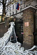 A group of 25 peace activists blockaded the front gate of the Russian Embassy in London in protest at the bombing of civilians in east Aleppo on November 3rd 2016 in London, the United Kingdom. Activists from two campaign groups The Syria Campaign and Syria Solidarity UK placed a structure made from white mannequin 'limbs' next to the front gate, while two others locked themselves to the gate itself. Others scattered over 800 limbs around the gates, to symbolise the horrific impact of Russia's use of cluster bombs and other banned weapons in the besieged city. Peace activists John Dunford and Iris Andrews locked themselves to the gates.  No arrests were made.