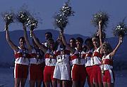 Barcelona, SPAIN.  CAN W8+ gold medalist, Brenda Susan TAYLOR, Jennifer Kirsten BARNES, Jessica MONROE, Kathleen HEDDLE, Kay Frances WORTHINGTON, Cox, Lesley Allison THOMPSON, Marnie Elizabeth MCBEAN, Megan Catherine DELEHANTY, Shannon CRAWFORD.  centre Whit shorts Jenny DOEY, Back injury keeping hher out of the Olympics. 1992 Olympic Rowing Regatta Lake Banyoles, Catalonia [Mandatory Credit Peter Spurrier/ Intersport Images]