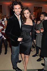 MARK-FRANCIS VANDELLI and BETTY BACHZ at a reception hosted by The Rake Magazine and Claridge's to celebrate London Collections 2015 held at Claridge's, Brook Street, London on 8th January 2015.
