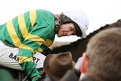 ©Licensed to London News Pictures. 07/11/20**13<br /> Towcester Racecourse, Northamptonshire. AP McCoy wins the magic 4000 at Towcester Racecourse beating Jamie Moore on Kris Spin in the 3:10 Weatherbys Novice hurdle race.<br /> Photo credit: Steven Prouse/ LNP