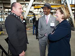 CSI actor and Blu Home Advisor, Paul Guilfoyle, City of  Vallejo Mayor Osby Davis and Solano County Board of Supervisors representative, Linda Seifert  were on hand as Blu Homes opened their West Coast factory on Mare Island in Vallejo, California Dec. 1, 2011.  Over 400 guests attended a ribbon cutting ceremony at the 250,000-square-foot facility.