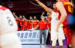 Pierre Oriola of Spain, Fernando San Emeterio of Spain, Ricky Rubio of Spain, Sergio Scariolo, head coach of Spain, Pau Gasol of Spain  celebrate during basketball match between National Teams of Germany and Spain at Day 13 in Round of 16 of the FIBA EuroBasket 2017 at Sinan Erdem Dome in Istanbul, Turkey on September 12, 2017. Photo by Vid Ponikvar / Sportida