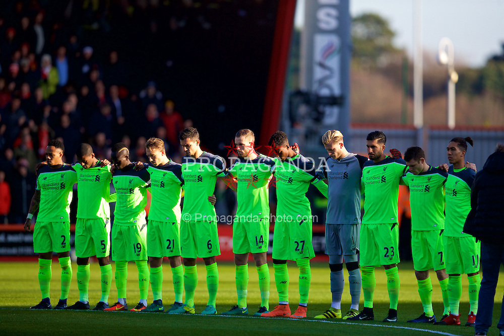 BOURNEMOUTH, ENGLAND - Sunday, December 4, 2016: Liverpool players observe a minutes silence for the victims of the plane crash involving the Brazilian club Chapecoense, before the FA Premier League match against AFC Bournemouth at Dean Court. (Pic by David Rawcliffe/Propaganda)