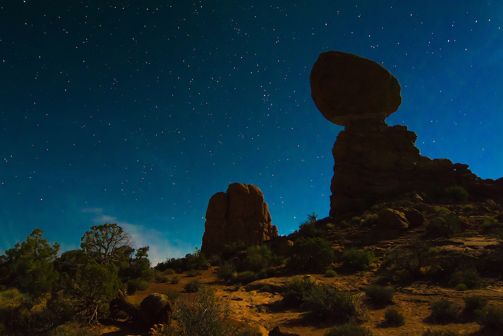Balanced Rock silhouetted against the moonlit sky on an extraordinary night in the Moab Desert at about 4am in Eastern Utah.