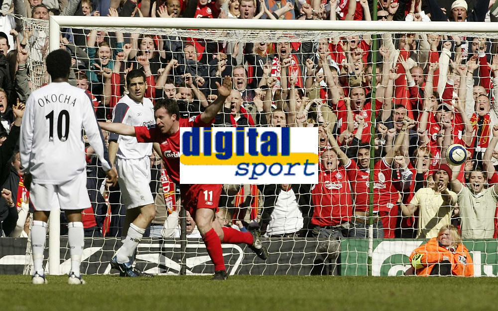 Photo: Aidan Ellis.<br /> Liverpool v Bolton Wanderers. The Barclays Premiership. 09/04/2006.<br /> Liverpool's Robbie Fowler celebrates his goal the first of thr game
