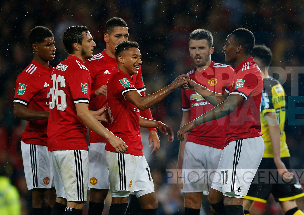 Anthony Martial of Manchester United celebrates scoring the fourth goal during the Carabao Cup Third Round match at the Old Trafford Stadium, Manchester. Picture date 20th September 2017. Picture credit should read: Simon Bellis/Sportimage