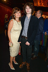 ALEXANDRA SHULMAN and her son SAM SPIKE at the Vogue Pop Up Club at Westfield London to celebrate Westfield London's 5th birthday on 30th October 2013.