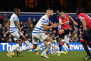 Angel Di Maria of Manchester United with a shot at goal. Barclays Premier league match, Queens Park Rangers v Manchester Utd at Loftus Road in London on Saturday 17th Jan 2015. pic by John Patrick Fletcher, Andrew Orchard sports photography.