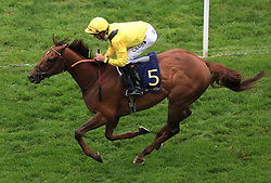 File photo dated 18-06-2019 of Addeybb ridden by Daniel Tudhope. Addeybb, Adayar and Mishriff are among 14 confirmations for the Qipco Champion Stakes at Ascot on Saturday. Issue date: Monday October 11, 2021.