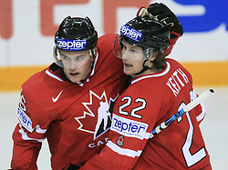 Jonathan Toews and Duncan Keith of Canada at play-off round quarterfinals ice-hockey game Norway vs Canada at IIHF WC 2008 in Halifax,  on May 14, 2008 in Metro Center, Halifax, Nova Scotia,Canada. (Photo by Vid Ponikvar / Sportal Images)