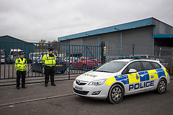© Licensed to London News Pictures. 09/03/2018. Salisbury, UK. Police officers continue to guard Ashley Wood Recovery in the city of Sailsbury, where a vehicle was searched by officers in Hazmat suits yesterday evening. where Former Russian spy Sergei Skripal and his daughter Yulia were found after being poisoned with nerve agent.  where found unconscious on bench in Salisbury shopping centre. A policeman who went to their aid is currently  recovering in hospital. Photo credit: Ben Cawthra/LNP