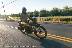 Yoshimasa Niimi riding the team 80 1915 Indian Twin that he co-rides with Shinya Kimura during Stage 16 (142 miles) of the Motorcycle Cannonball Cross-Country Endurance Run, which on this day ran from Yakima to Tacoma, WA, USA. Sunday, September 21, 2014.  Photography ©2014 Michael Lichter.