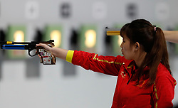 BUENOS AIRES, Oct. 10. 2018  Lu Kaiman of China competes during the women's 10m air pistol final at the 2018 Summer Youth Olympic Games in Buenos Aires, Argentina on Oct. 9, 2018. Lu Kaiman ranked the sixth. (Credit Image: © Xinhua via ZUMA Wire)