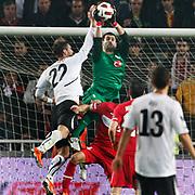 Turkey's goalkeeper Volkan DEMIREL (C) during their UEFA EURO 2012 Qualifying round Group A soccer match Turkey betwen Austria at Sukru Saracoglu stadium in Istanbul March 29, 2011. Photo by TURKPIX