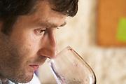 Christophe Blanc Chateau de Montpezat. Pezenas region. Languedoc. Owner winemaker. Tasting wine. France. Europe.