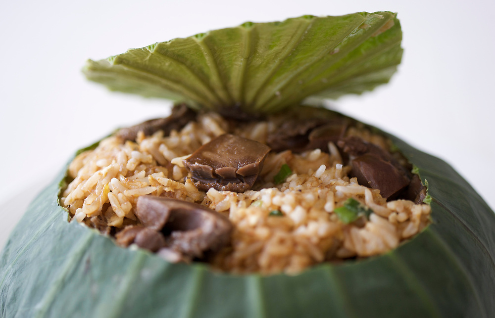 06 July 2009, Macau, China --- Abalone Fried Rice in Lotus Leaf. Photo by Victor Fraile --- Image by © Victor Fraile