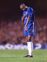 William Gallas (Chelsea) shows his disapointment after defeat. Chelsea v Besiktas. Champions League 1/10/2003. Credit : Colorsport.