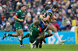 Ollie Devoto of Bath Rugby takes on the Leicester Tigers defence - Photo mandatory by-line: Patrick Khachfe/JMP - Mobile: 07966 386802 04/01/2015 - SPORT - RUGBY UNION - Leicester - Welford Road - Leicester Tigers v Bath Rugby - Aviva Premiership