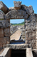 View through the  fountain of the Acropolis along the columned main street of the city. Perge (Perga) archaeological site, Turkey .<br /> <br /> If you prefer to buy from our ALAMY PHOTO LIBRARY  Collection visit : https://www.alamy.com/portfolio/paul-williams-funkystock/perge-archaeological-site-turkey.html<br /> <br /> Visit our CLASSICAL WORLD HISTORIC SITES PHOTO COLLECTIONS for more photos to download or buy as wall art prints https://funkystock.photoshelter.com/gallery-collection/Classical-Era-Historic-Sites-Archaeological-Sites-Pictures-Images/C0000g4bSGiDL9rw