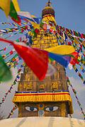 Chabahil Stupa (Buddhist Shrine) with Prayer Flags, Kathmandu