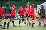 The Spanish team's slightly unconventional warm down after their match against Australia in the Investec Hockey World League Semi Final 2013, the Quintin Hogg Memorial Sports Ground, University of Westminster, London, UK on 27 June 2013. Photo: Simon Parker