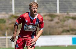Prøvespilleren Tobias Pedersen (FC Helsingør) under træningskampen mellem FC Helsingør og HIK den 1. august 2020 på Helsingør Ny Stadion (Foto: Claus Birch).