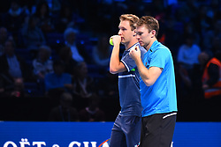 November 18, 2017 - London, England, United Kingdom - Australia's John Peers (R) discusses tactics with his partner Finland's Henri Kontinen (L) between points against Britain's Jamie Murray and his partner Brazil's Bruno Soares during their men's doubles semi-final match on day seven of the ATP World Tour Finals tennis tournament at the O2 Arena in London on November 18, 2017. (Credit Image: © Alberto Pezzali/NurPhoto via ZUMA Press)