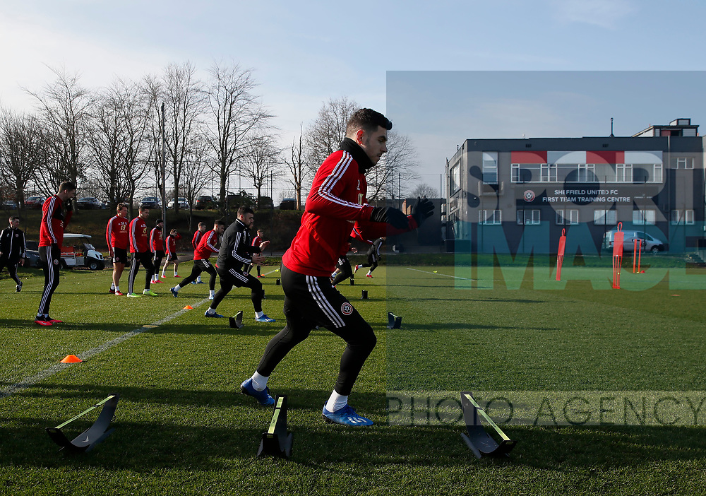 Jack O'Connell of Sheffield Utd during the Press Conference & Training at the Steelphalt Academy, Sheffield. Picture date: 7th February 2020. Picture credit should read: Simon Bellis/Sportimage