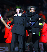 Liverpool/Manchester United Premiership 03.03.07 <br />Photo: Tim Parker Fotosports International<br />Sir Alex Ferguson manager Manchester Utd and Rafael Benitez manager Liverpool at end of the match