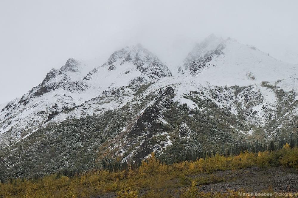 Snow-covered mountains after autumn storm, Denali National Park, Alaska