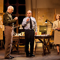 """The Lyceum present the World Premiere of Pressure<br /> By David Haig<br /> <br /> Picture shows : Malcolm Sinclair – General Dwight D """"Ike"""" Eisenhower ( left ), David Haig – Group Captain Dr. James Stagg ( centre) , Laura Rogers as Kay Summersby <br /> <br /> <br /> Picture : Drew Farrell<br /> Tel : 07721 -735041<br /> www.drewfarrell.com<br /> Directed by John Dove<br /> A co-production with Chichester Festival Theatre<br /> June 1944. One man's decision is about to change the course of history.<br /> <br /> Cast<br /> David Haig – Group Captain Dr. James StaggLaura Rogers – Kay SummersbyRobert Jack – AndrewAnthony Bowers – Lieutenant Battersby/ Captain JohnsScott Gilmour – Young Naval RatingMalcolm Sinclair – General Dwight D """"Ike"""" EisenhowerTim Beckmann – Colonel Irving P. KrickMichael Mackenzie – Electrician/Admiral Bertram """"Bertie"""" RamsayAlister Cameron – Air Chief Marshall Sir Trafford Leigh-MalloryGilly Gilchrist – General """"Tooey"""" Spaatz/Commander Franklin<br /> Creative Team<br /> Director - John DoveDesigner - Colin RichmondLX Designer - Tim MitchellDeputy LX Designer - Guy JonesComposer/Sound Design - Philip PinskyVideo Designer - Andrzej Goulding<br /> An intense real-life thriller centred around the most important weather forecast in the history of warfare.Scottish meteorologist, Group Captain James Stagg, the son of a Dalkeith plumber, must advise General Eisenhower on when to give the order to send thousands of waiting troops across the Channel in Operation Overlord.In what became the most volatile period in the British Isles for over 100 years, the future of Britain, Europe and our relationship with the United States, rested on the shoulders of one reluctant Scotsman.<br /> Pressure is the extraordinary and little known story of a Scot who changed the course of war, and our lives, forever.David Haig is a four time nominee and Olivier Award winning actor best known for his roles in the film Four Weddings and a Funeral , TV series The Thin Blue Line a"""