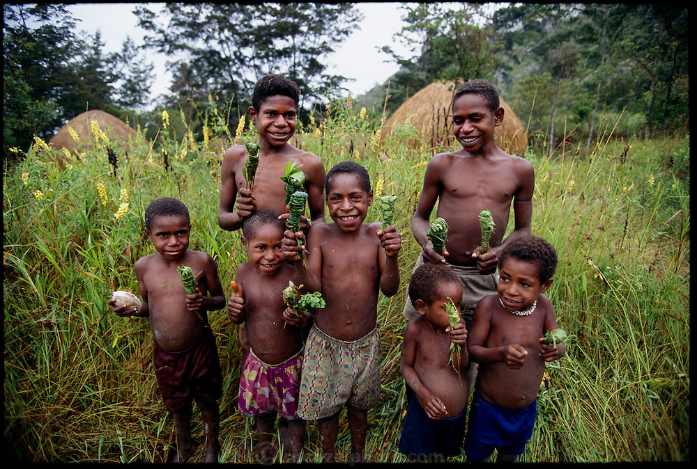 "Dani children show their ""bug packages"", a collection of twenty or so stink bugs wrapped in leaves to be roasted over a fire and eaten as a tasty protein snack, Soroba, Baliem Valley, Irian Jaya, Indonesia.   (pages 80, 81) ."