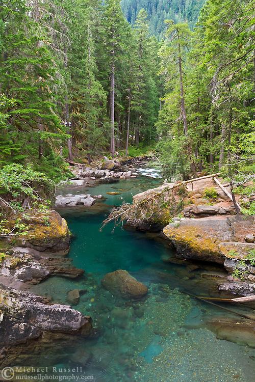 The Ohanapecosh River near the Ohanapecosh campground in Mount Rainier National Park in Washington State, USA.