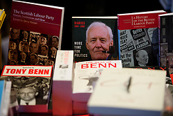 © Licensed to London News Pictures. 24/09/2016. Liverpool, UK. Tony Benn books being sold before Labour MPs and supporters celebrate  the re-elected of Labour Party Leader Jeremy Corbyn at a party organised by Momentum in Liverpool.  Photo credit: Ben Cawthra/LNP