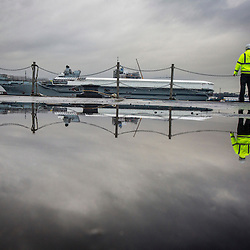 Queen Elizabeth Aircraft Carrier under construction at the Babcock site in Rosyth.