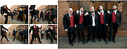 A groom and his groomsmen goof around before his wedding at Sequoia in Placerville, CA.