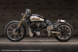 Custom Indian Scout Motorcycle by Bill Dodge of Blings Cycles at the Handbuilt Show. Austin, TX, USA. April 7, 2016.  Photography ©2016 Michael Lichter.