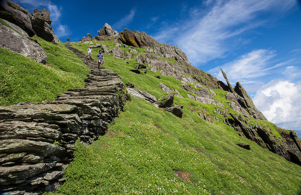 Visitors descending stairs to the south landing, Skellig Michael, County Kerry, Ireland