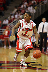 "27 January 2008: Keith ""Boo"" Richardson in a game where the Indiana State Sycamores were cut down by the Illinois State Redbirds 65-62 on Doug Collins Court at Redbird Arena in Normal Illinois.."