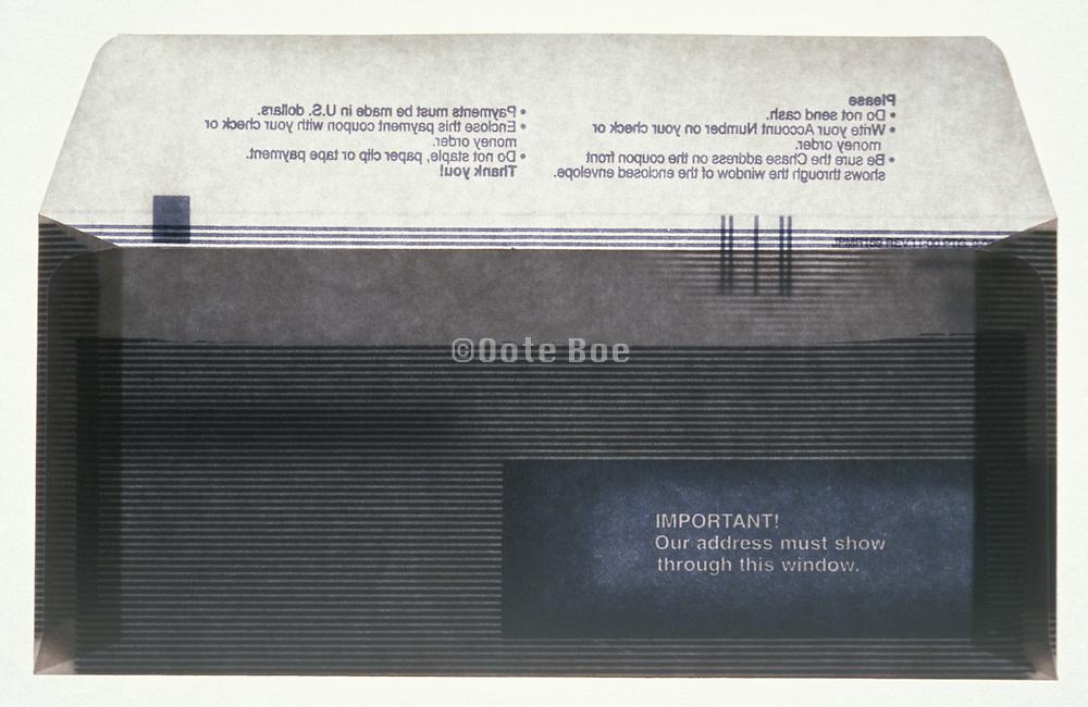 Still life of empty security envelope