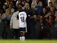 Photo: Daniel Hambury.<br />Tottenham Hotspur v Fulham. The Barclays Premiership.<br />26/09/2005.<br />Tottenham's manager Martin Jol gives Jermaine Defoe a hug as the goal scorer is substituted in the second half.