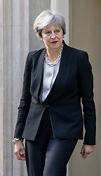 © Licensed to London News Pictures. 14/09/2017. London, UK. British Prime Minister Theresa May leaves No 10 to meet Malaysian Prime Minister Najib Razak (not pictured) in Downing Street. Photo credit : Tom Nicholson/LNP