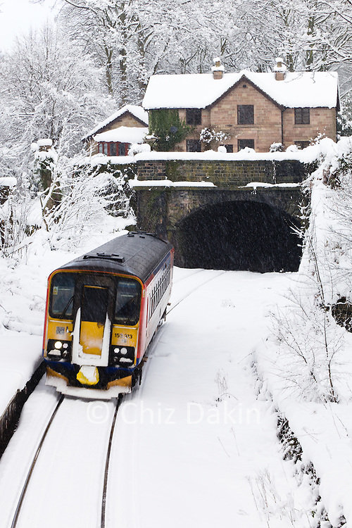 Trains were running despite the heavy snowfall on the Matlock to Derby line